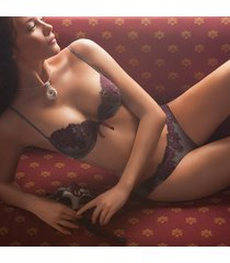 ambra lingerie set platinum push bh+string grijs