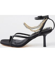 river island womens black faux leather chain mid heel sandal