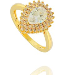 anel dona diva semi joias gota dourado - dourado - feminino - dafiti