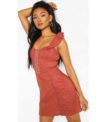 hook and eye frill sleeve mini dress, rose