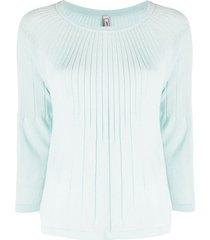 antonio marras ribbed 3/4 sleeves pullover - blue