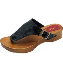 sandalia cuero hebilla negra amano shoes