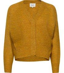 brook knit boxy cardigan stickad tröja gul second female