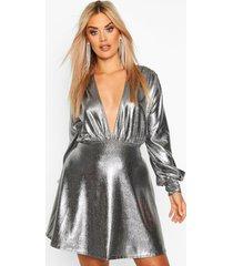 plus metallic plunge skater dress, silver