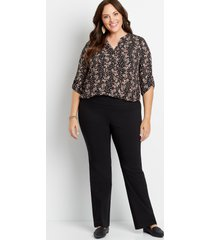 maurices plus size womens high rise black bengaline stacked waist bootcut pants