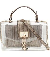 dkny elissa clear leather top-handle flap shoulder bag