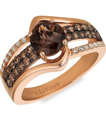le vian women's 14k strawberry gold®, chocolate quartz®, chocolate & vanilla diamond® ring - size 7