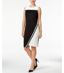tommy hilfiger colorblocked asymmetrical scuba dress