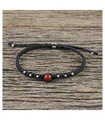 jasper beaded macrame bracelet, 'single bead' (thailand)