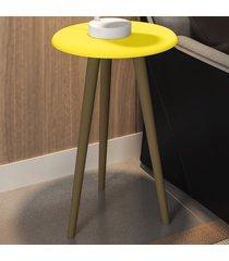 mesa de canto redonda brilhante 2074532 amarelo - bechara móveis