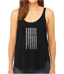 la pop art women's premium word art flowy tank top- national anthem flag