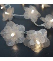 cordão de luz - luz de fada crie casa organza flower champagne