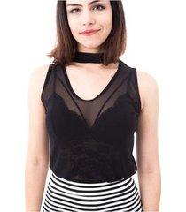 blusa moda vício gola alta regata com decote feminino