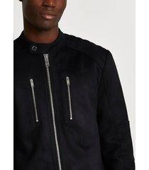 river island mens black suedette racer jacket