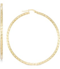 italian gold medium textured hoop earrings in 14k gold