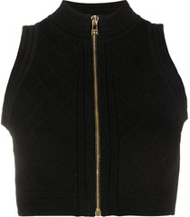 balmain zip-up ribbed-knit top - black