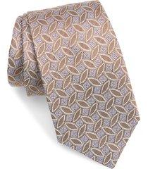 men's david donahue leaf pattern silk tie, size one size - beige