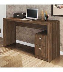mesa para escritório 2 gavetas nogal me4130 - tecno mobili