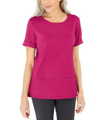 karen scott cotton topstitched top, created for macy's