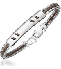forzieri designer men's bracelets, di fulco - stainless steel bracelet w/ plaque
