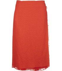 marni frayed-detail mid-length skirt