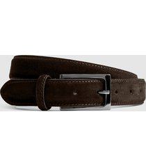 reiss joopy - suede belt in dark brown, mens, size 36