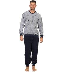 heren badstof pyjama normann 93454-58-grijs