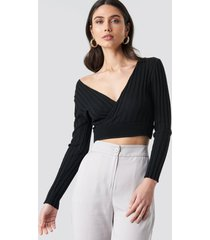trendyol double breasted knitted sweater - black