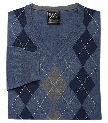 traveler collection tailored fit washable merino wool argyle men's sweater - big & tall clearance