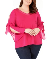 belldini plus size embellished chiffon-sleeve top