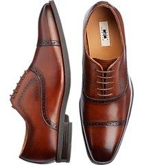 joseph abboud cognac wingtip lace-up dress casual shoes