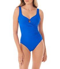 miraclesuit women's must have escape one-piece swimsuit - delphine blue - size 16