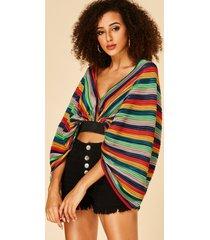 yoins multi stripe deep v neck long sleeves crop top