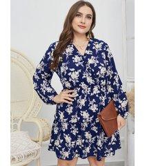vestido de tirantes elásticos con estampado floral y cuello en v de talla grande diseño mini de manga larga vestido
