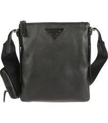 prada triangle logo patch top zip shoulder bag