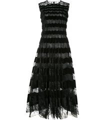 oscar de la renta velour panelled lace long dress - black