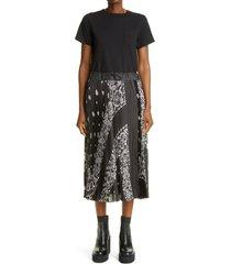 women's sacai archive print pleated mixed media midi dress, size 4 - black