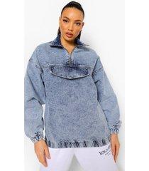 tall pullover spijkerjas met rits, lichtblauw