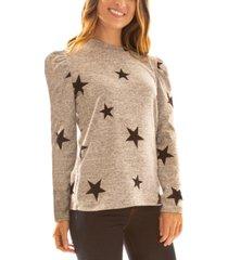 bcx juniors' fuzzy star-print puff-shoulder sweater