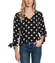 cece dot-print tie-sleeve v-neck top