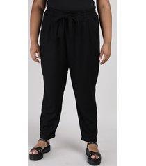 calça feminina clochard plus size com bolso preta