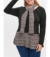 plus size long sleeve color block t-shirt with scarf
