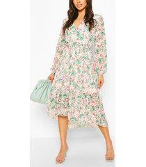 bloemenprint midi wikkel jurk met losvallende zoom en gelaagde rok, groen