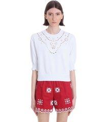 red valentino sweatshirt in white cotton
