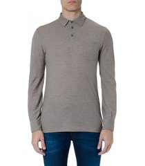zanone cork cotton long sleeve polo shirt