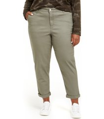 celebrity pink trendy plus size high-rise relaxed trousers