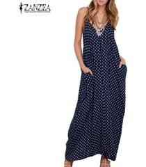 zanzea vestido largo sin manga algodón sexy elegante playa casual -azul