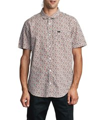 men's rvca bellflower short sleeve button-up shirt, size xx-large - white