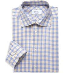 eton men's contemporary-fit checker dress shirt - brown - size 17