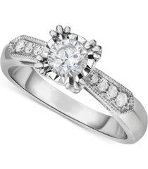 diamond vintage-inspired milgrain engagement ring (5/8 ct. t.w.) in 14k white gold
